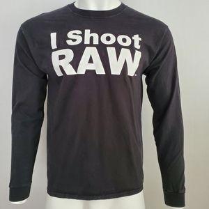 I Shoot Raw Photography Tee Long Sleeve Size L